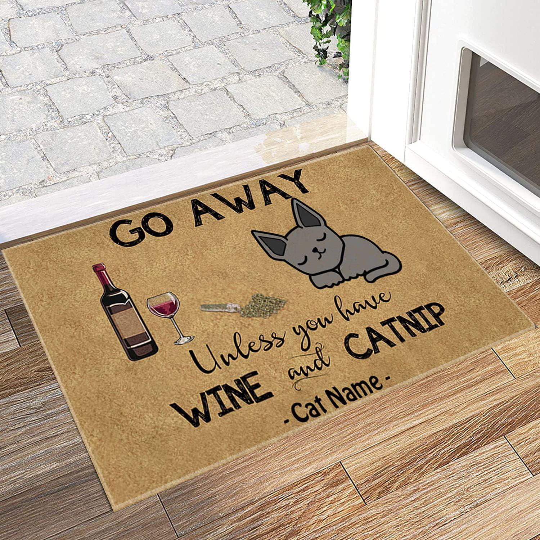 TIME CITY Cat Doormat Personalized Name Go Away Unless You Have Wine and Catnip Russian Blue Welcome Home Non Slip Door Mats for Entrance Indoor, Outdoor, Floor Rug Décor