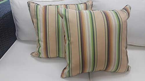Set of 2 Outdoor Laguna Stripe Throw Pillows Yellow Striped