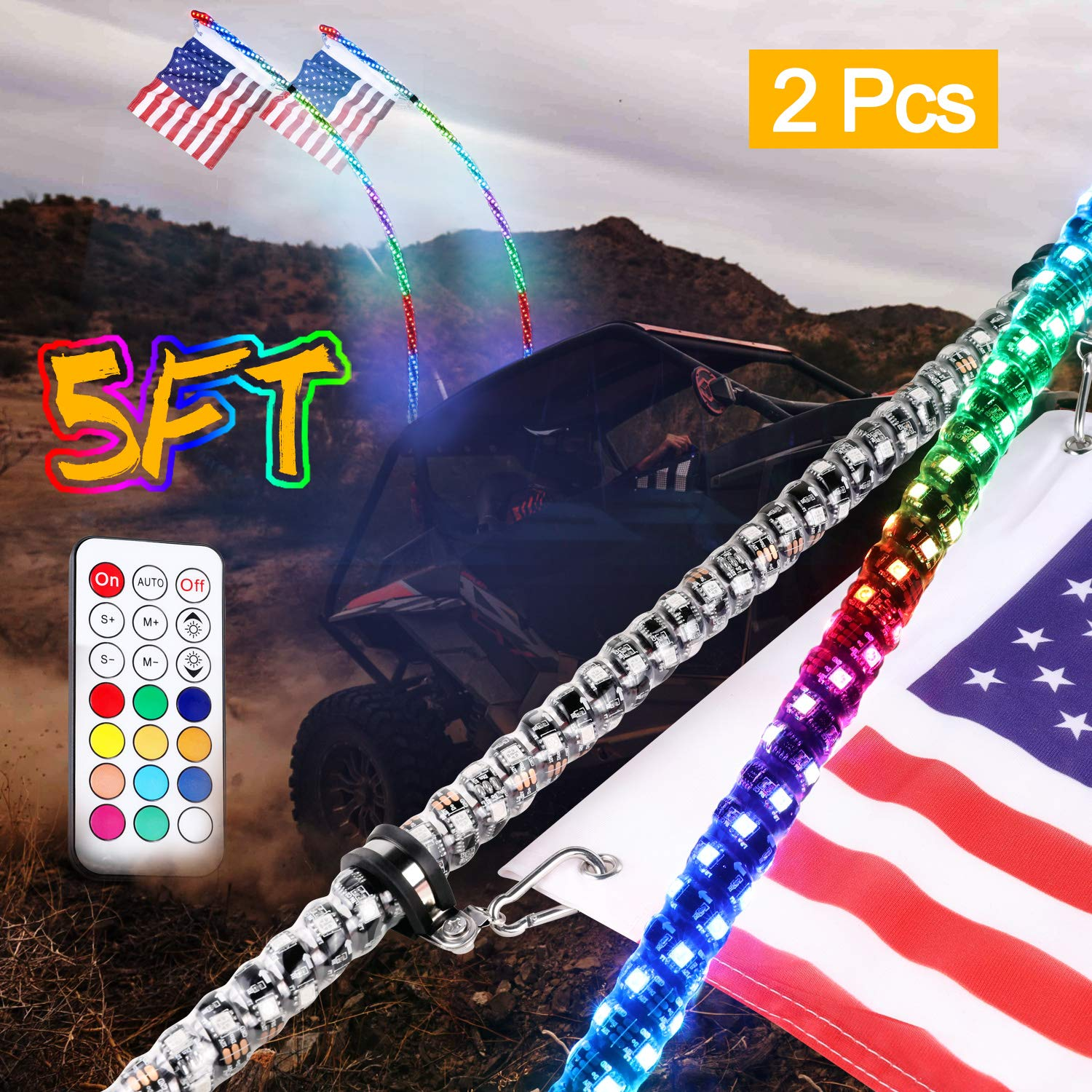 LED Whip Lights, Wayup 2Pack 5FT Lighted Whips with Flag Remote Control 360° Spiral Dancing/Chasing Light Antenna LED Whips for UTV ATV RZR Polaris 4X4 SXS Buggy Dune Truck by Wayup