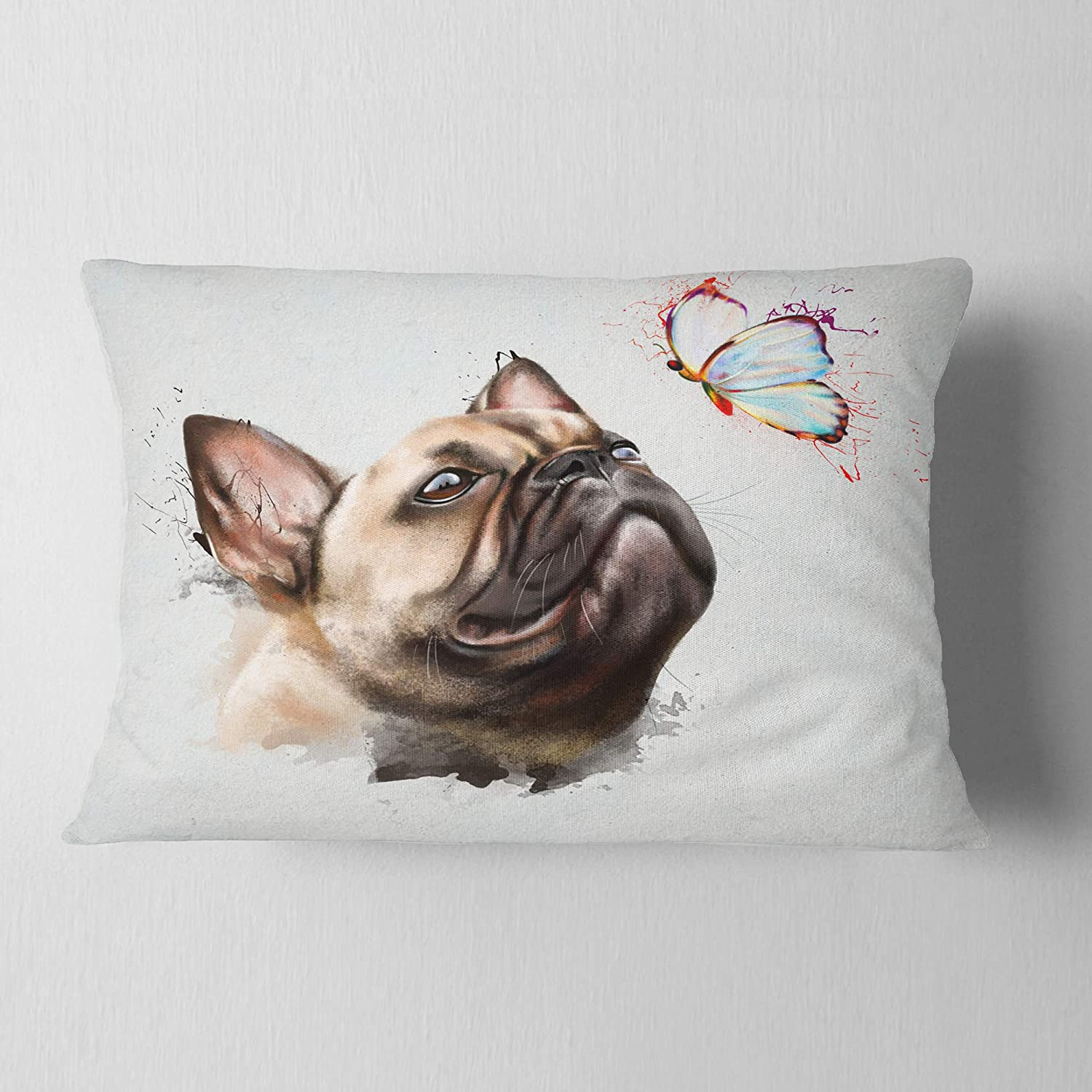Designart CU13139-12-20 Funny French Dog with Butterfly' Animal Lumbar Cushion Cover for Living Room, Sofa Throw Pillow 12 in. x 20 in. in, Insert Printed On Both Side