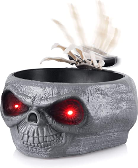 Amazon.com | Homarden Animated Halloween Skull Bowl - Large Plastic Skull Candy Bowl with Creepy Moving Skeleton Hand - Motion Activated Halloween Grey Skull Candy Dishes with Light Up Eyes, Monster Sound Effects: Candy Dishes