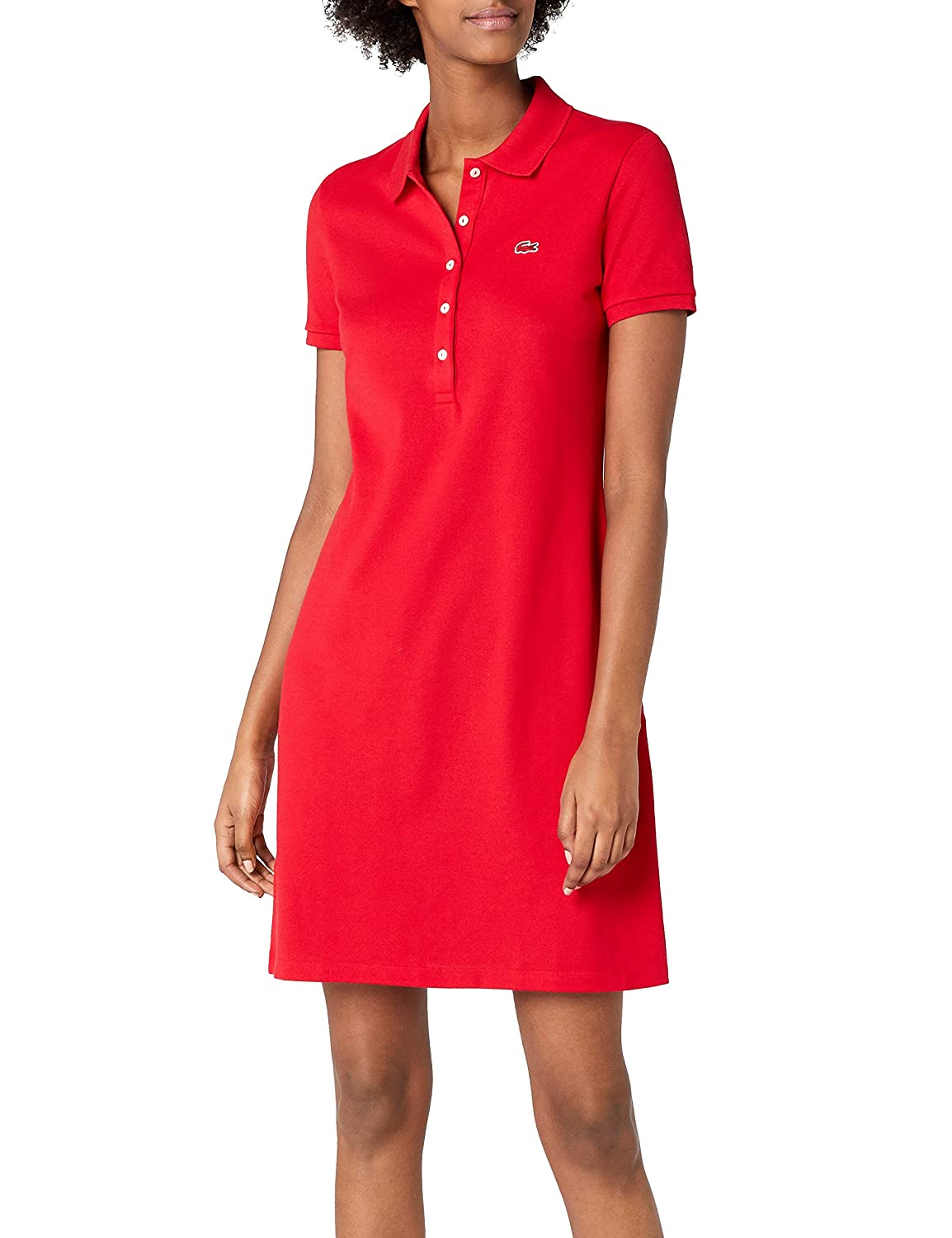 Red (Toréador) Lacoste Women's Ef8470 KneeLength Fit Slim Dress