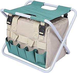 CAMPMOON Folding Garden Stool with Detachable Organizer, Sturdy Garden Tools Set Organizer for Adults Portable, Green