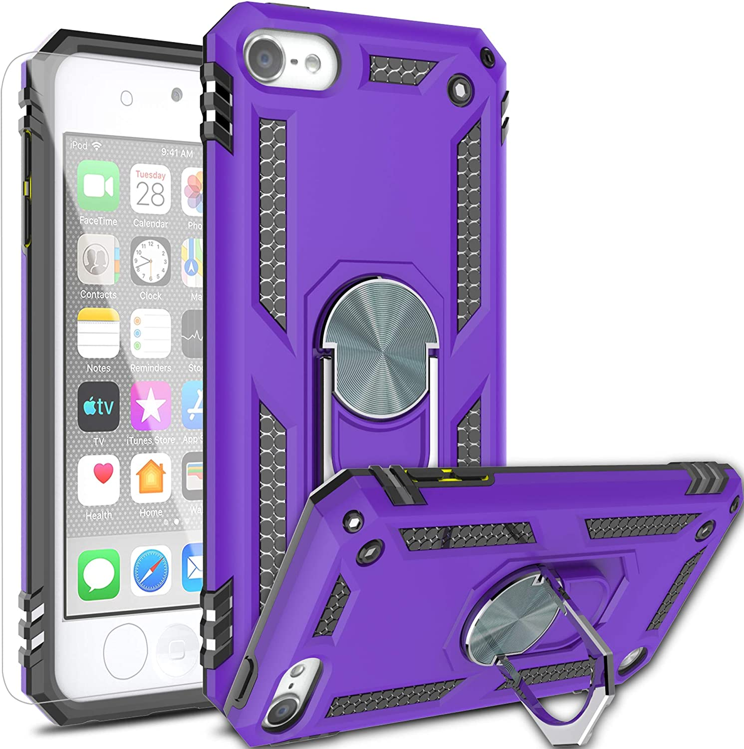 AYMECL iPod Touch 5/6/7 Case with HD Screen Protector,[Military Grade] 360 Degree Magnetic Support Metal Ring Armor Shockproof Cover for Apple iPod Touch 7th/6th/5th Generation-ST Purple