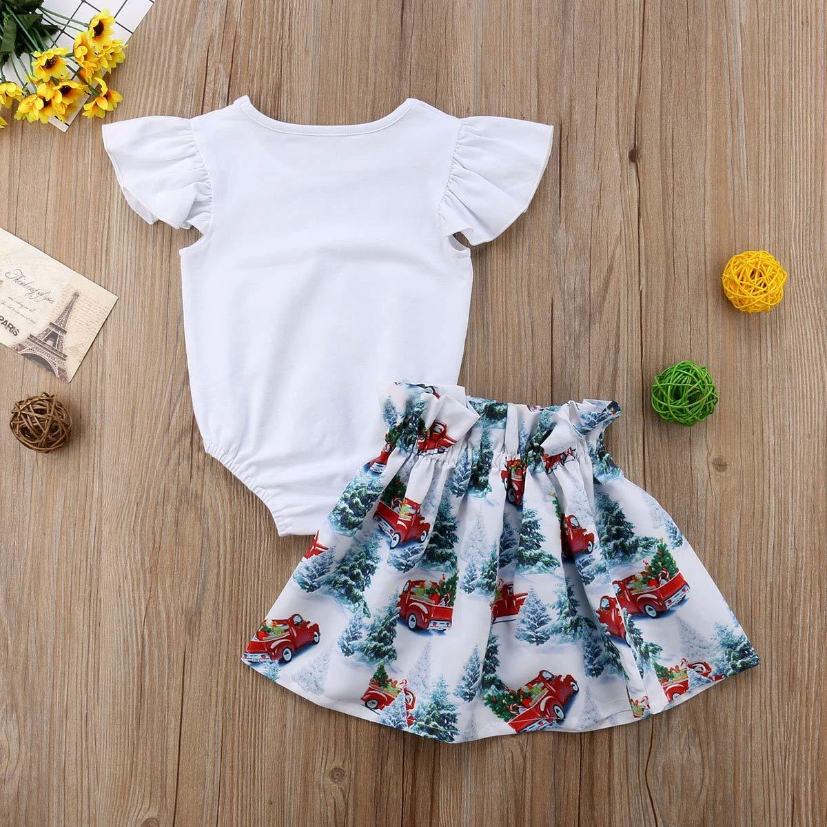 GoodFilling Infant Toddler Baby Girls Ruffle Sleeve Romper with Christmas Skirt