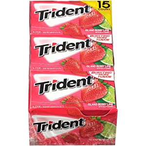 Trident Sugar Free Gum, Island Berry, 14 Pieces, 15 Packs