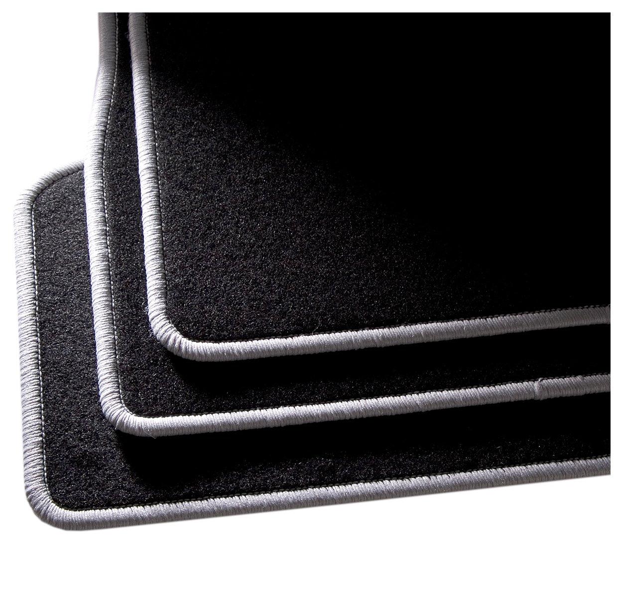 CarFashion 255027 Auto Alfombra Soporte sin Juego de alfombrillas para Matte plana BasicRips-Textil Negro 4-Piezas