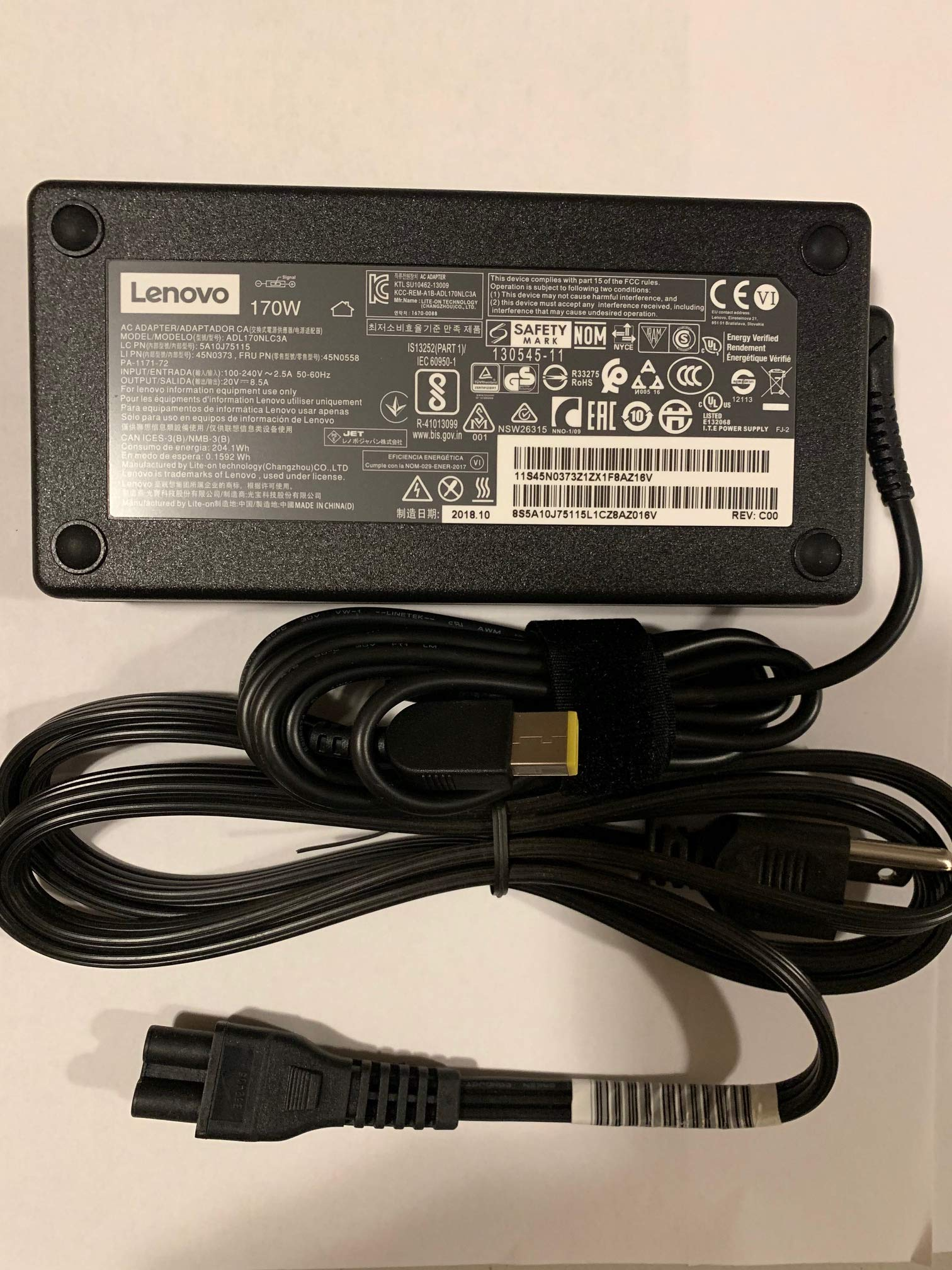Lenovo 20V 8.5A 170W Slim Tip AC Adapter For Lenovo ThinkPad W540 W550s P50 P50S P70 E440 E450 E555 S431 T440 T540p X240 X250 Yoga 15;Legion Y720 Ideapad Y720-15IKB ADL170NLC2A ADL170NDC2A ADL170NLC3A by Lenovo (Image #1)