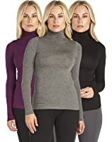 3 Pack: Free to Live Long Sleeve Light Weight Mock Neck Tops