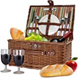 Bringalong Wicker Picnic Basket - 2 person - Classic Brown w/ Plates & Wine Glasses