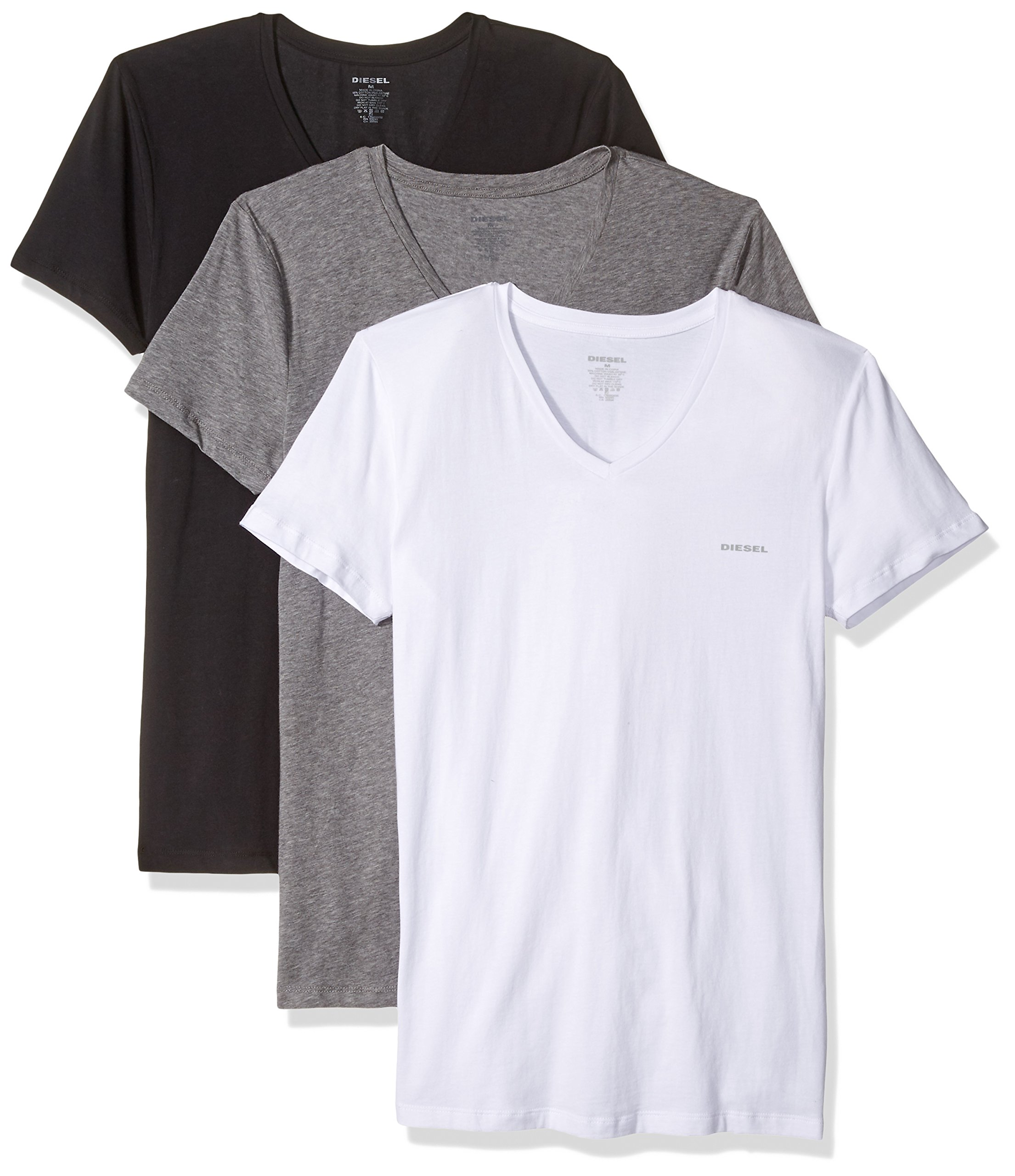 Diesel Men's Umtee-MICHAEL3PACK V-Neck T-Shirt, Black/White/Grey, XXL
