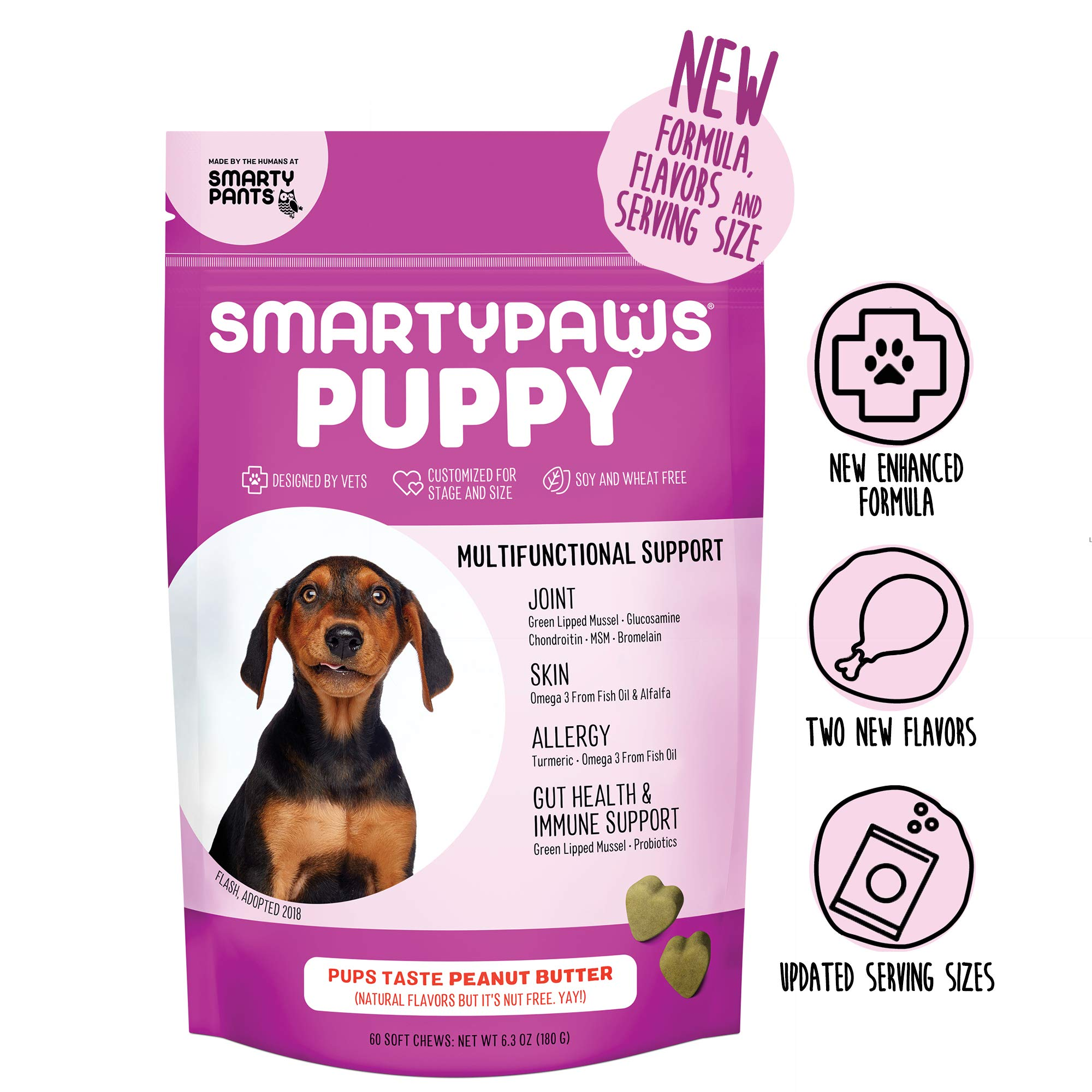 SmartyPaws Dog Supplement Chew for Puppies - Glucosamine, Probiotics, Chondroitin, Fish Oil Omega 3, MSM for Hip and Joint Support, Organic Turmeric, Peanut Butter Flavor (60 Ct) - Packaging May Vary by SmartyPants