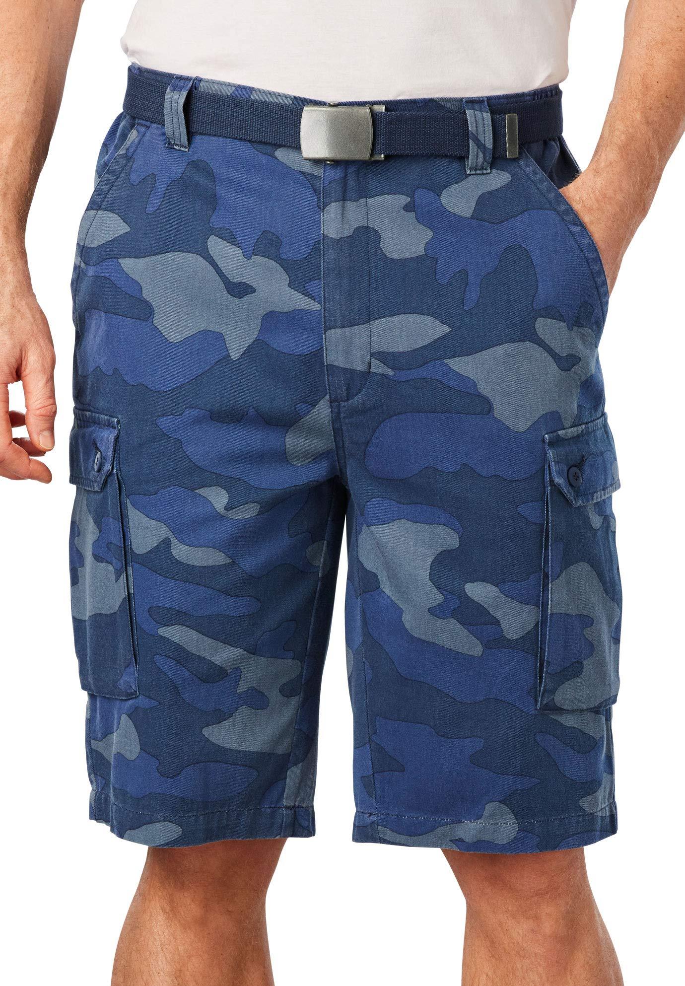 KingSize Men's Big & Tall 12'' Side Elastic Cargo Short with Twill Belt, Blue Camo Tall-4XL