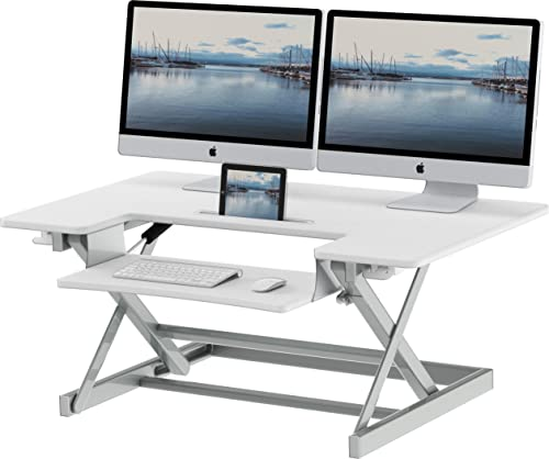 SHW 36-Inch Height Adjustable Standing Desk Sit to Stand Riser Converter Workstation, White