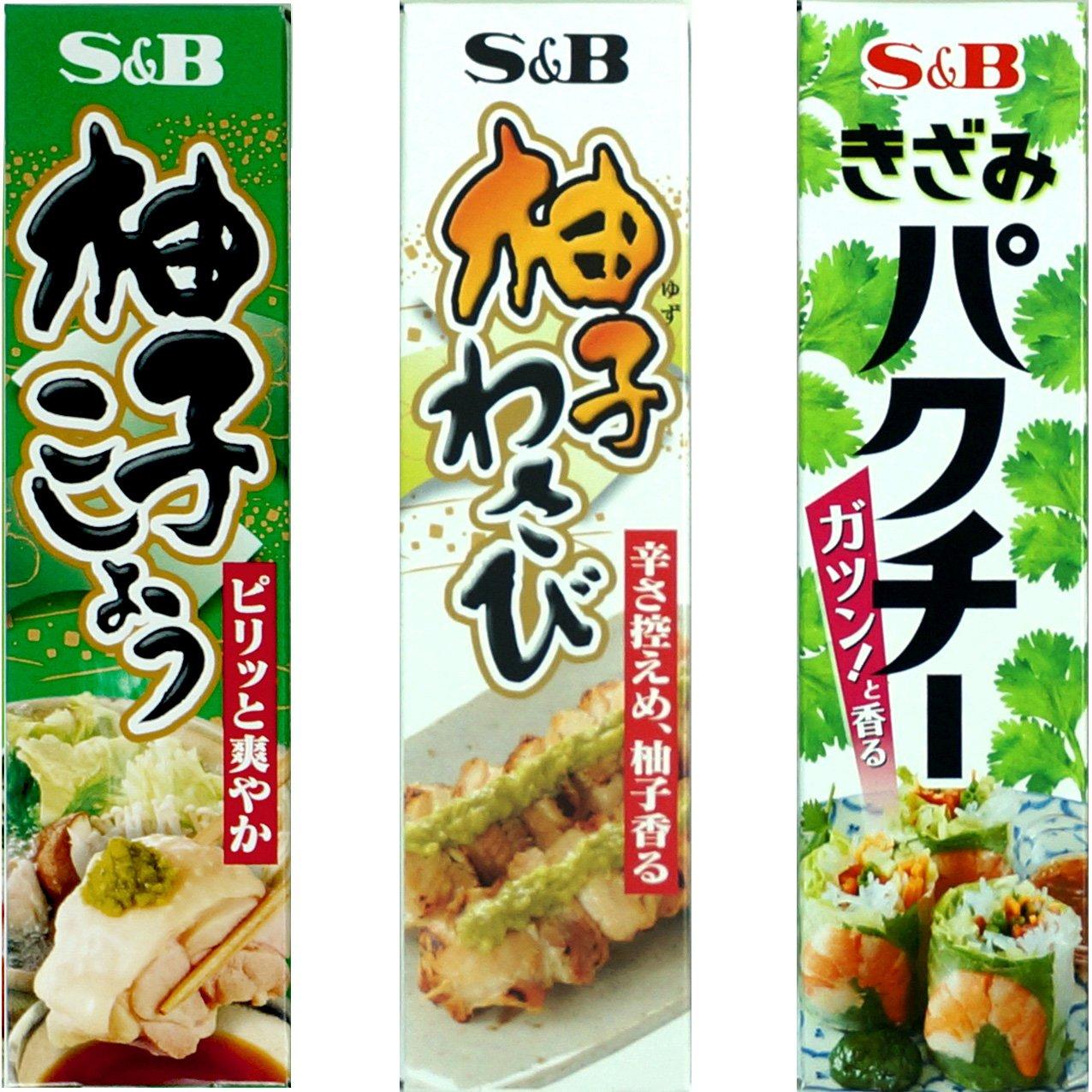 Assortment of Japanese Seasoning Yuzu Kosho (Citron Pepper), Yuzu(Citron) Wasabi, Shredded Pakuchi