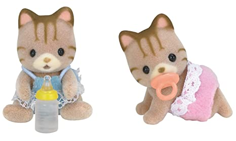SYLVANIAN FAMILIES Striped Cat Twins Mini muñecas y Accesorios Epoch para Imaginar 5188