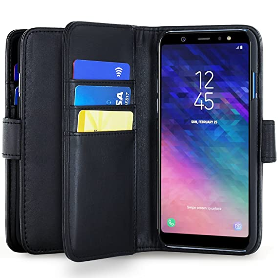 buy popular 8ef43 6f47f Amazon.com: Olixar Samsung Galaxy J6 Wallet Case - PU Leather Style ...