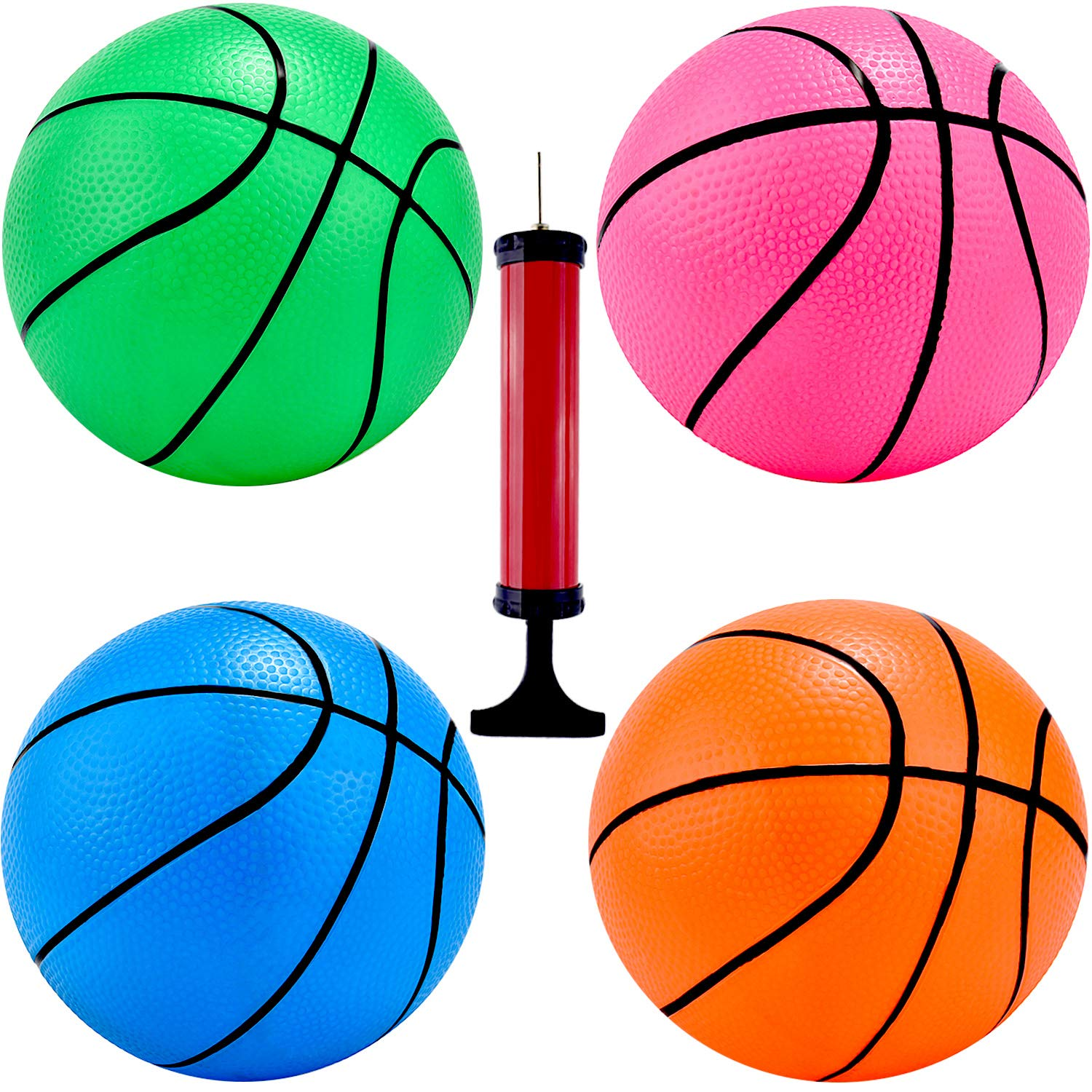 4 Pieces Mini Basketball Inflation Mini Ball with Pump and Basketball Needles, 4 Colors (4 Inch) by TecUnite