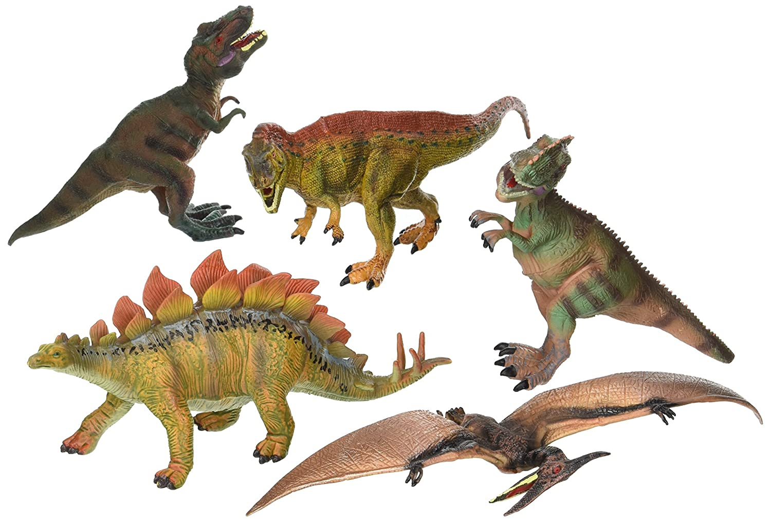 Kids Imaginative Dinosaurs Small & Large Plastic Assorted Toy Dinosaurs 5 Piece Set, 6.4