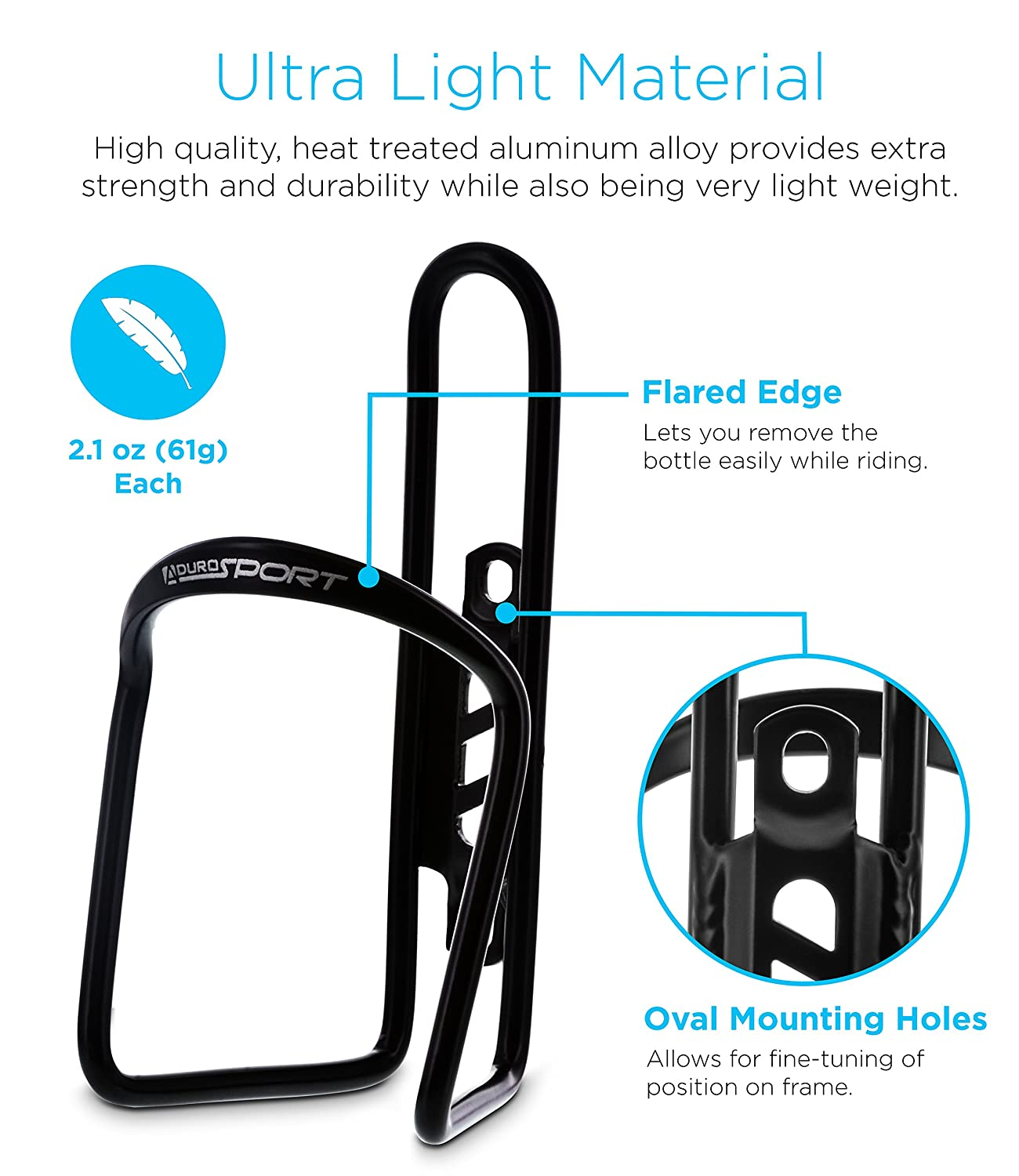 2X Pack Bicycle Water Bottle Mount Lightweight for Cycling Fits Any Bike with Easy Installation S-ABC2PK-01 Aduro Bike Water Bottle Holder Aluminum Cage,
