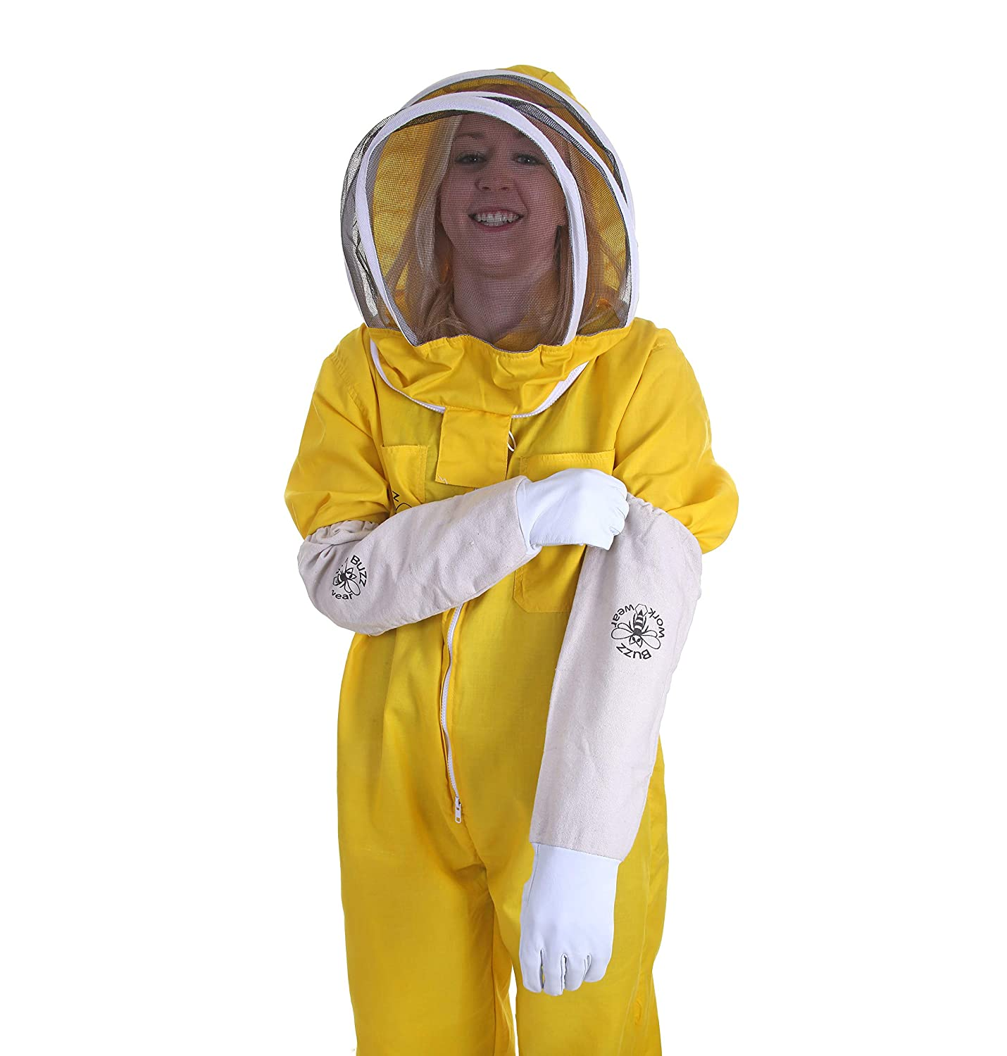 Buzz Basic Beekeepers Bee Suit With Fencing And Round Veils With Gloves Yellow Large