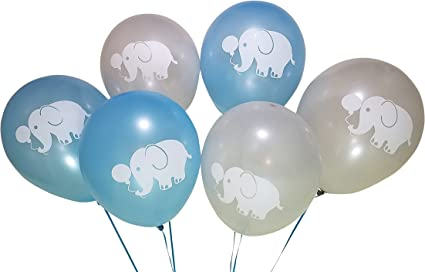 Blue Grey Elephant Balloons for Birthday Party or Boys Baby Shower 25 Pack
