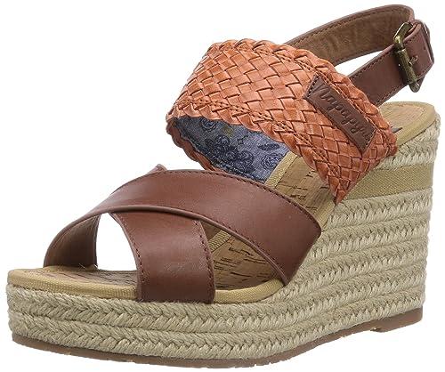 huge selection of 68a7f 9db7c NAPAPIJRI FOOTWEAR Belle Damen Offene Sandalen mit Keilabsatz