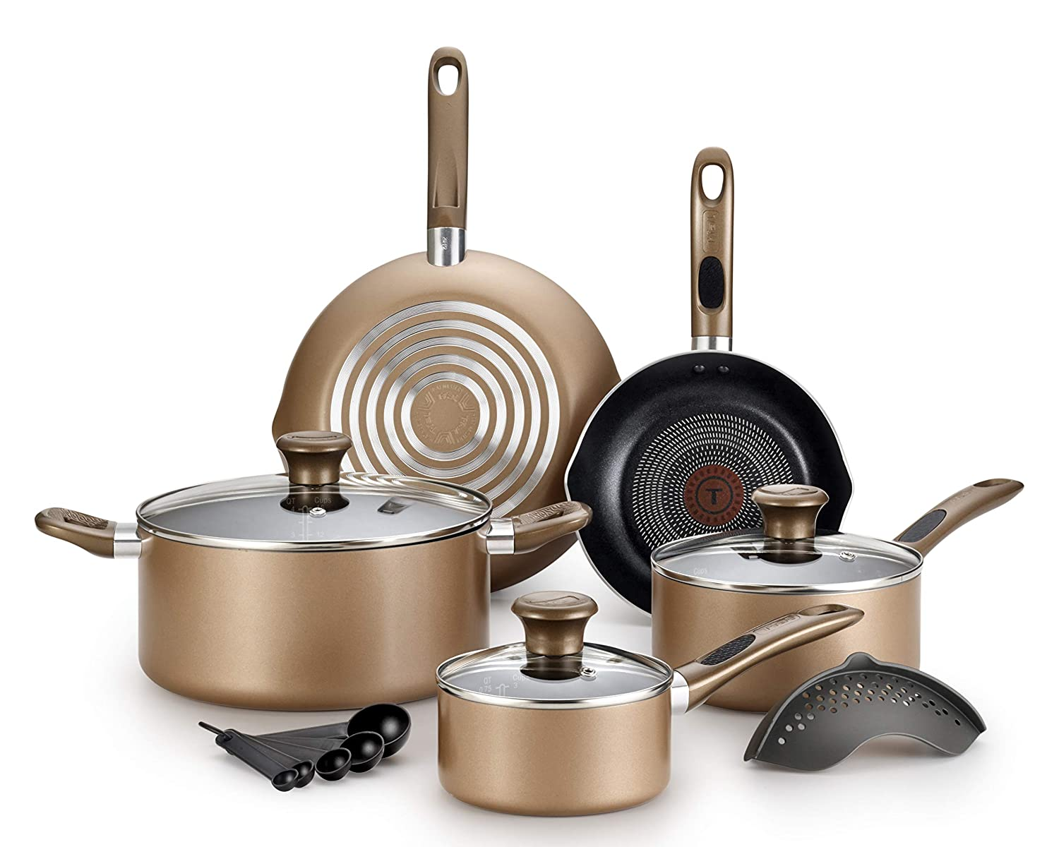 T-fal B036SE64 B036SE Excite ProGlide Nonstick Thermo-Spot Heat Indicator Dishwasher Oven Safe Cookware Set, 14-Piece, Bronze