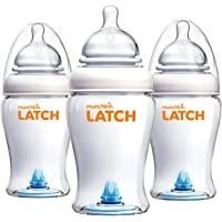 3-Pack Munchkin Latch Anti-Colic Baby Bottle, 8 Ounce