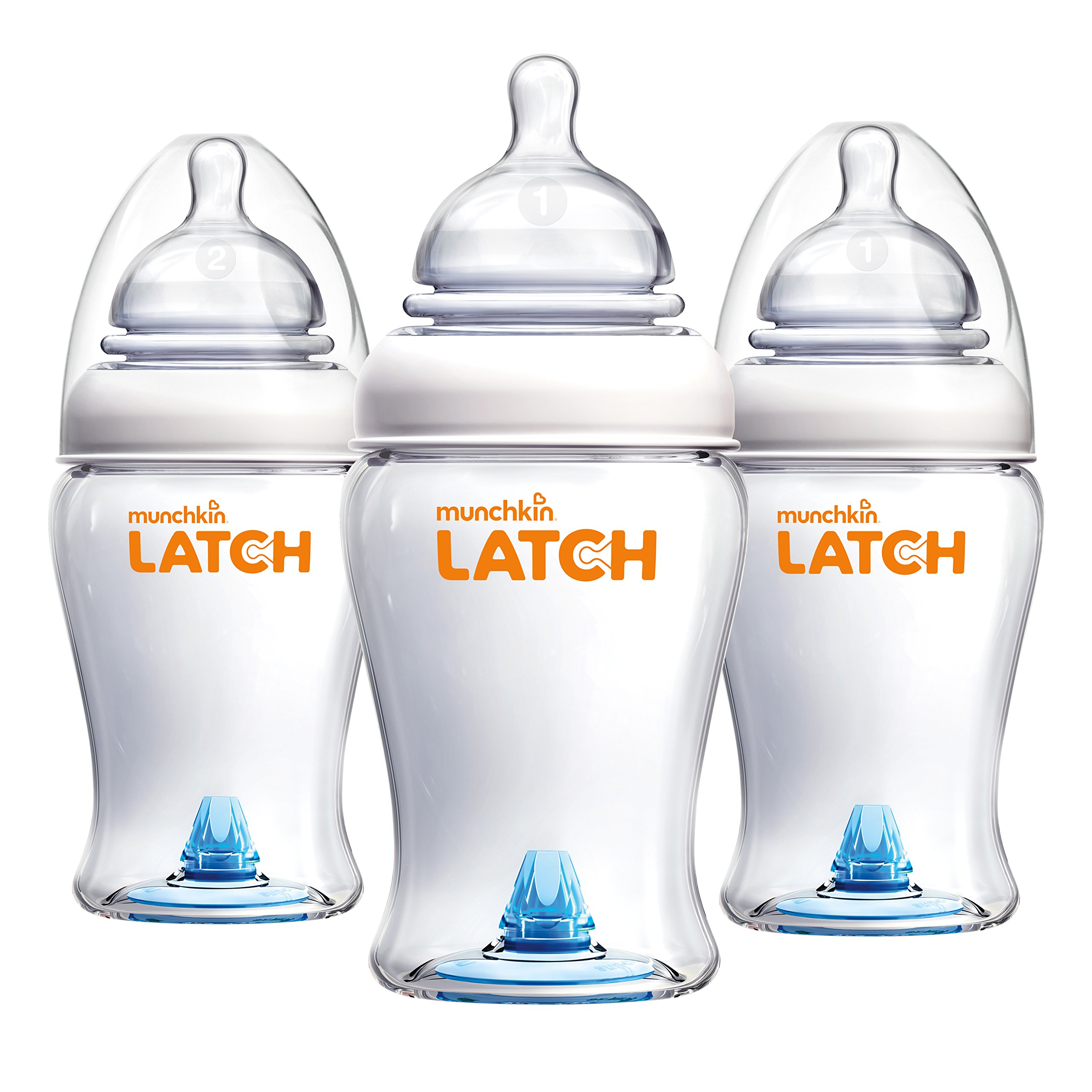Munchkin Latch Anti-Colic Baby Bottle with Ultra Flexible Breast-like Nipple, BPA Free, 8 Ounce, 3 Pack by Munchkin