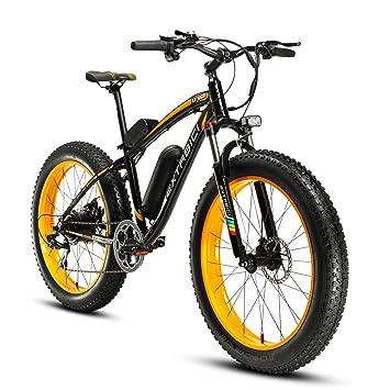 Cyrusher Extrbici XF660 48V 500 vatios Negro Amarillo Mens bicicleta eléctrica Mountain Bike 7 velocidades bicicletas