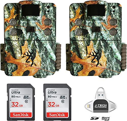 2 Browning Strike Force HD PRO X 2019 Trail Game Cameras 20MP with 32GB Memory Cards and J-TECH iPhone iPad Android USB Memory Card Reader BTC5HDPX
