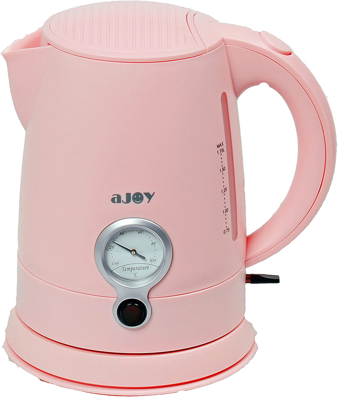 aJOY Professional Designer Series 1.7L Cordless Electric Kettle, BPA Free, 360 Degree Conceal Heating Element, Overheat Protection Control Pink