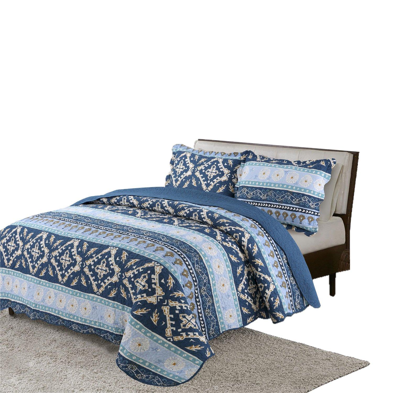 vivinna home textile Cotton Quilt queen/double size Sets -3pcs include 2 pillow Shams patchwork Bedspread blanket (Stripe Blue, Queen:90'' 90'')