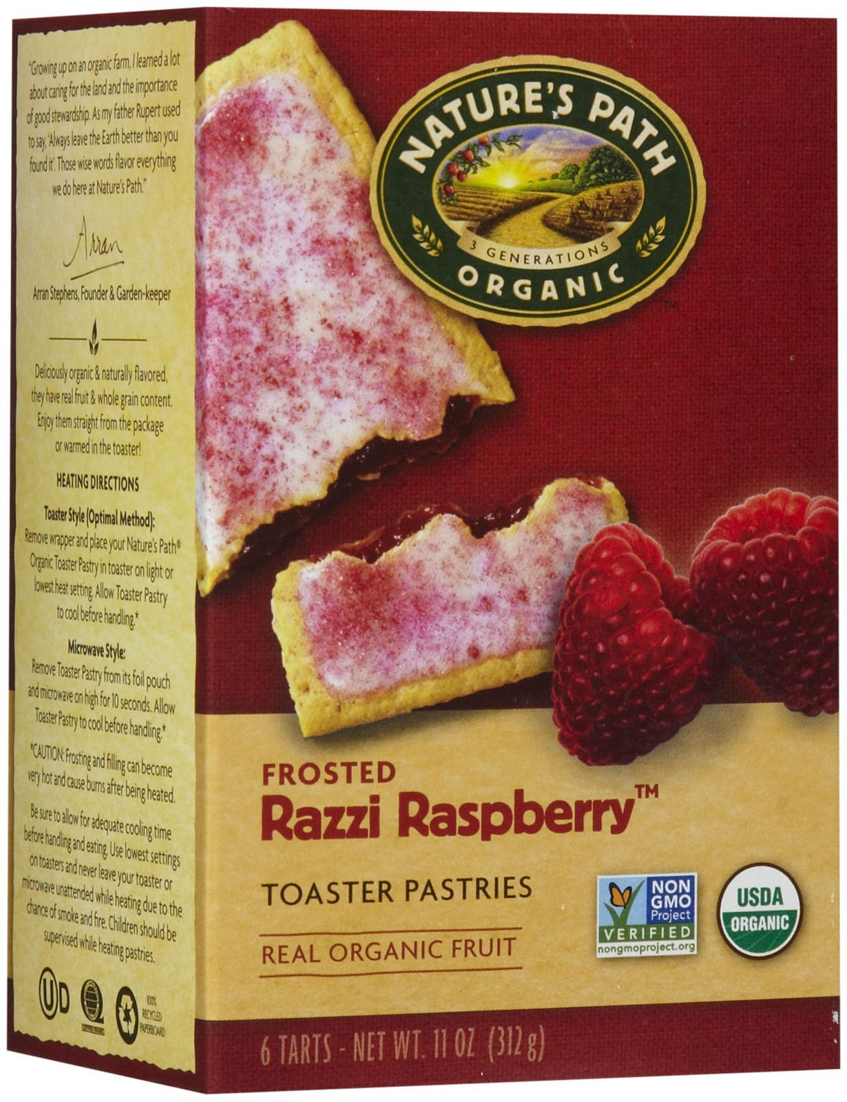 Nature's Path Frosted Toaster Pastry - Raspberry - 11 oz - 6 ct