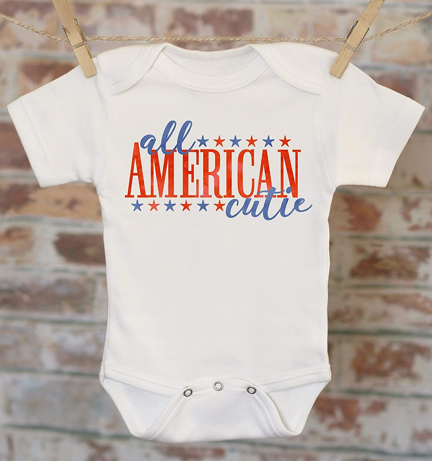 All American Cutie Onesie, Patriotic Baby Clothes, Merica Outfit, Memorial Day Outfit, Summer Baby Clothes, 4th of July Onesie