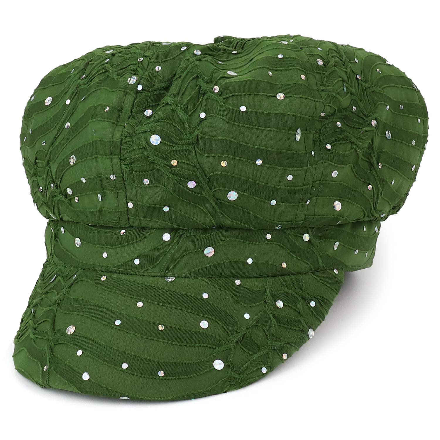 Armycrew Elastic Band Sparkle Sequin Glitter Newsboy Cap - Olive