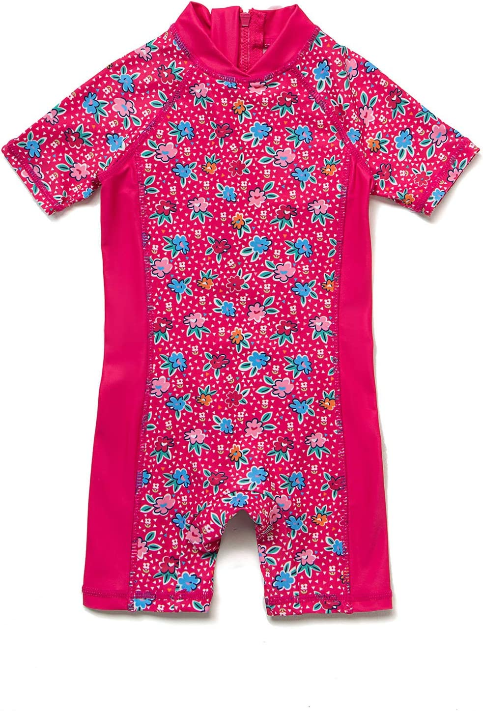 Baby Girls Sunsuit UPF 50+ Sun Protection One Pieces Short Sleeves Swimwear with Sun Hat(Mei Red Flowers,24 36Months)