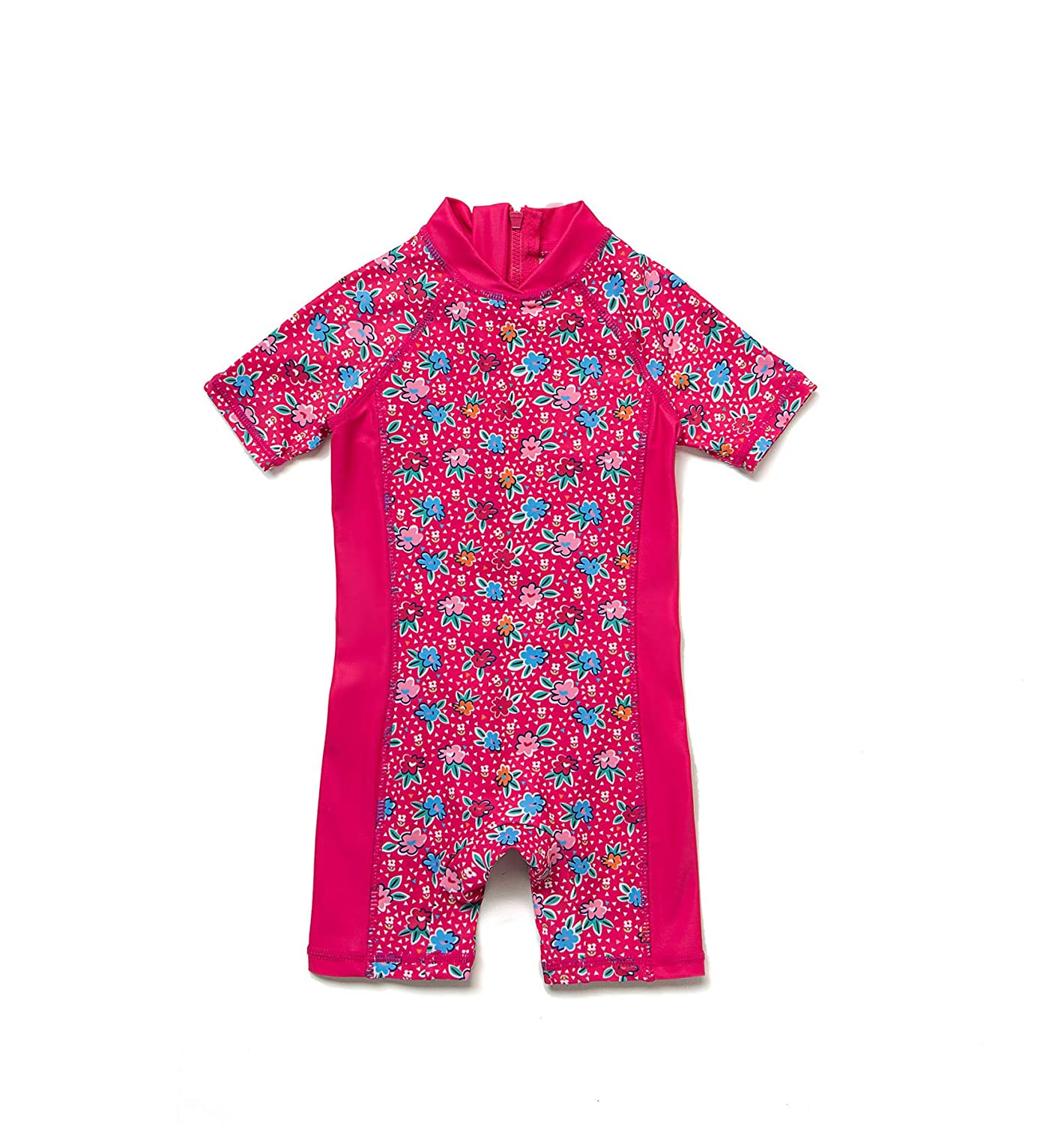 Sun Protection One Pieces Short Sleeves Swimwear with Sun Hat Mei Red Flowers,3-6Months Baby Girls Sunsuit UPF 50