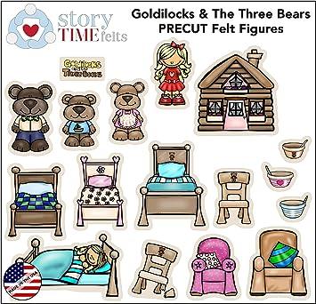 Story Goldilocks and Three Bears - Juego de 17 Figuras de Mesa de Fieltro y Franela, diseño de Tabla de Juegos precortada: Amazon.es: Juguetes y juegos