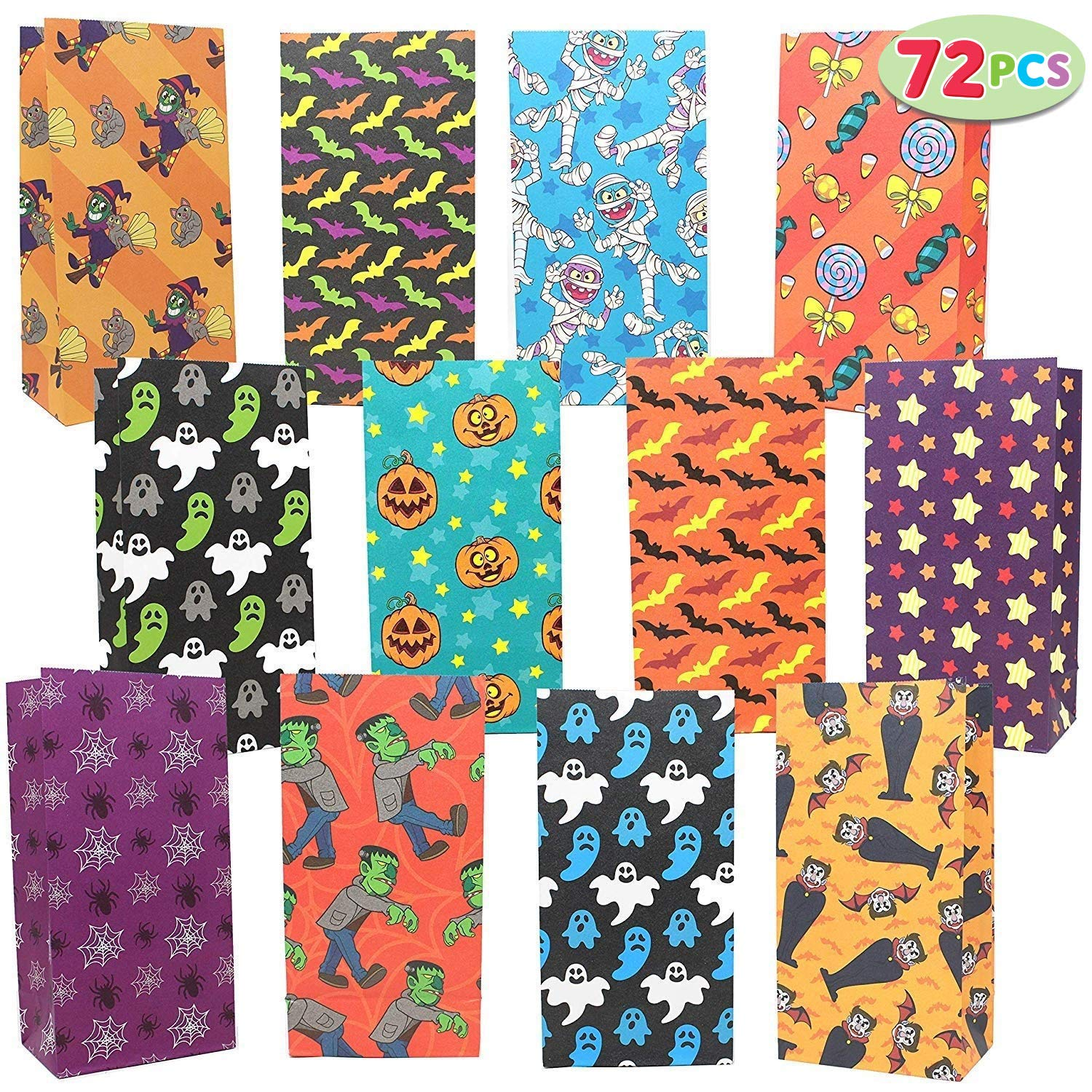 JOYIN 72 Pack of Halloween Bags; 12 Assorted Designs Paper Treat Bags for Classroom Treat Bags Halloween Party Favors, Trick or Treating Candy Bags, ...