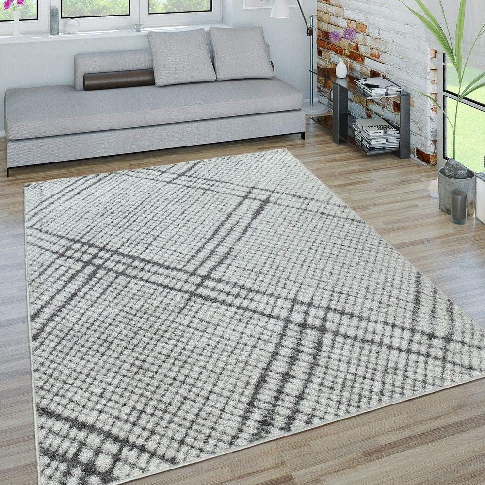 Tappeto Moderno A Pelo Corto per Soggiorno A Quadri A Linee m/élange Nero Bianco Dimensione:80x150 cm