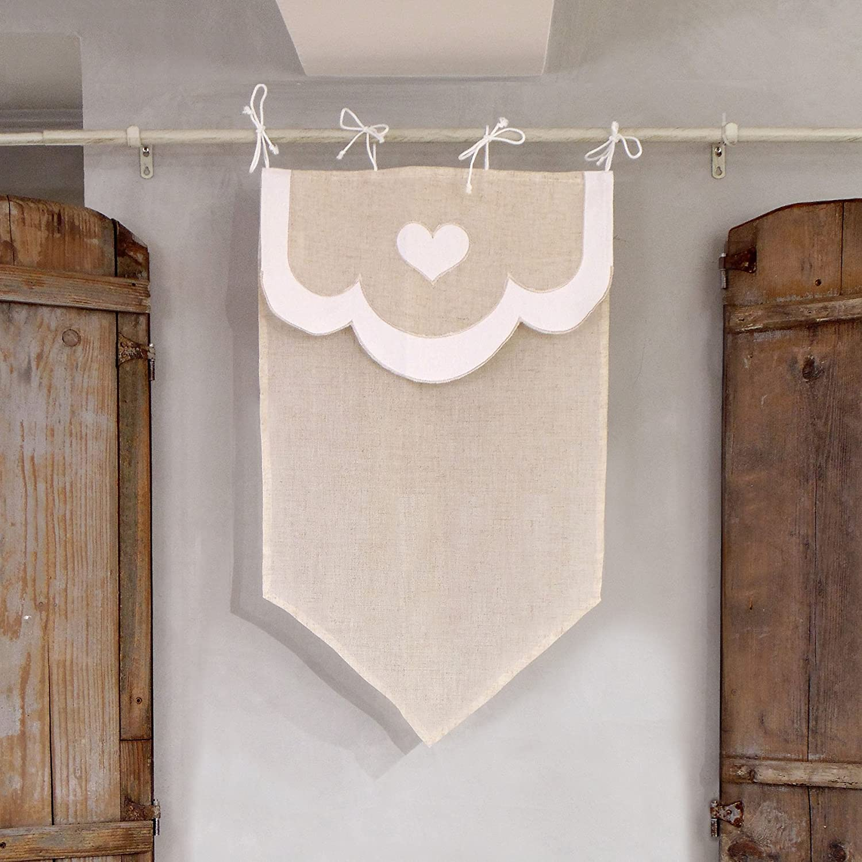 Tenda finestra Shabby Chic 45 x 60 Colore Bianco / Lino Blanc Mariclo