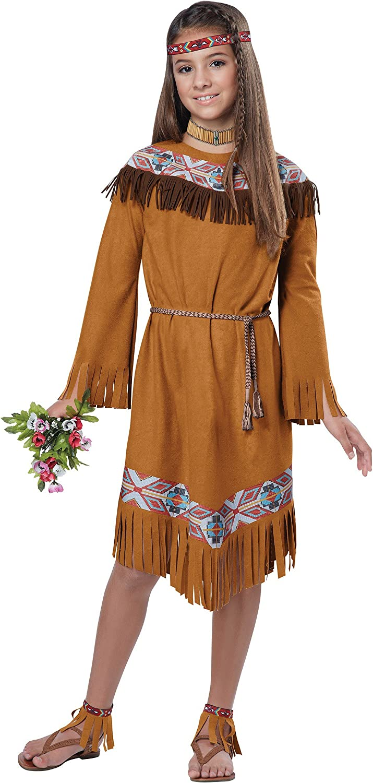 L XL M S Native American Princess Maiden Costume Dress Girls Childs Indian