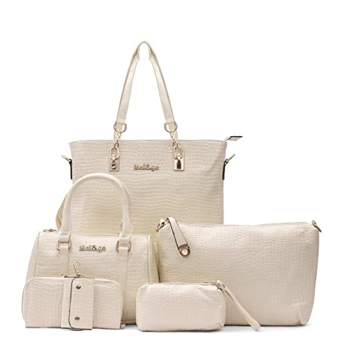 c8c00ecb25ee Mei ge Crocodile Skin Pattern Glossy Finish PU Synthetic Leather Handbags  for Women - Set of 6 - Off-white  Amazon.in  Shoes   Handbags