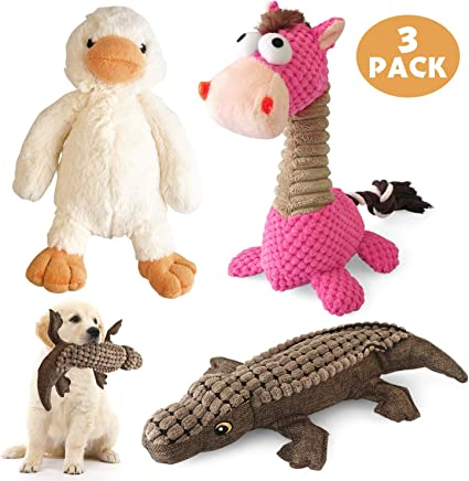 4 Pack Stuffing Free Dog Toys No Stuffing Pets Training Puppy Toys Durable Interactive Plush Toys Chew Toys Set for Small Medium Large Dogs-Brown Wolf Crocodile Squeaky Dog toys Raccoon Duck