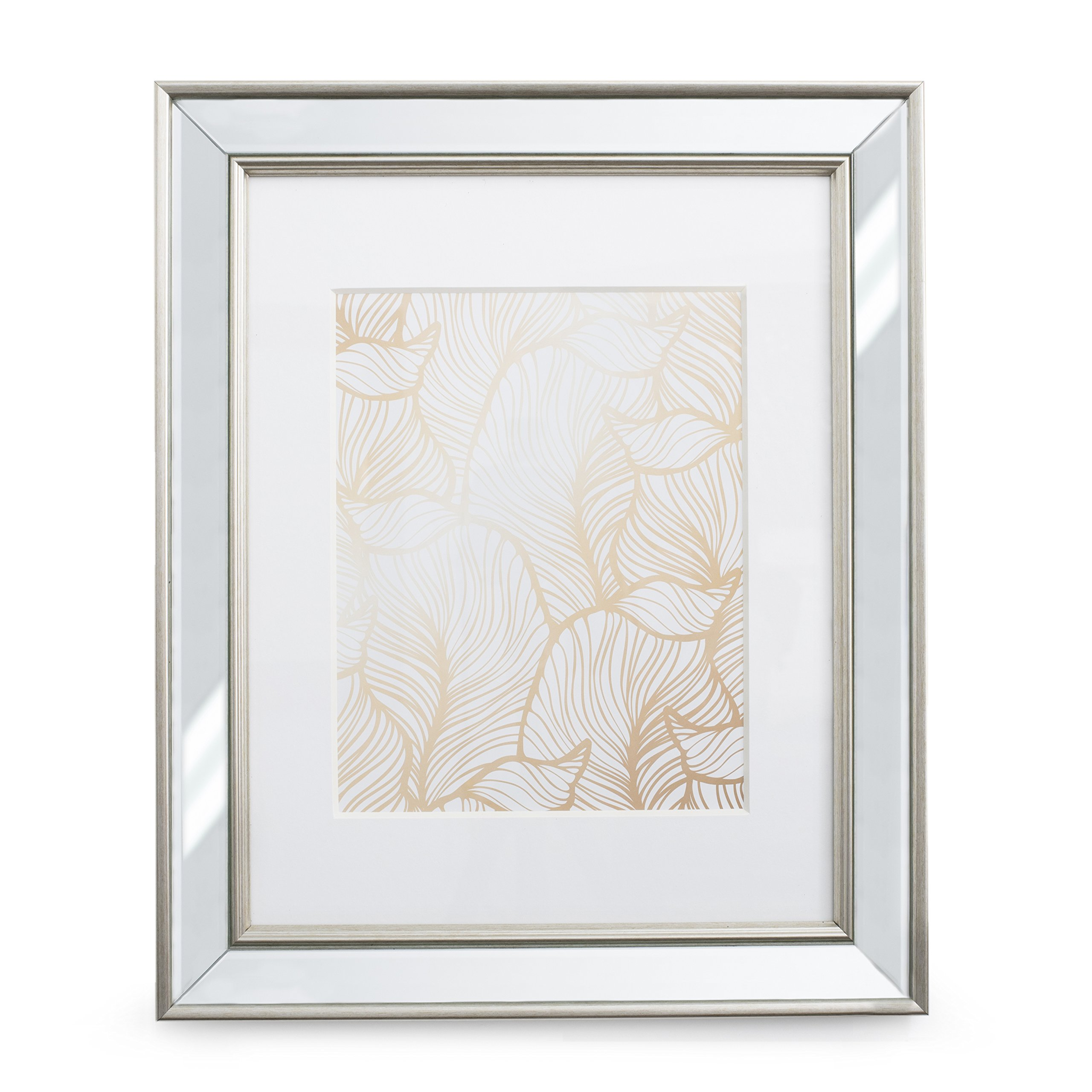 8x10 Mirrored Picture Frame Matted - Made to Display Pictures 8x10 with Mat or 5x7 Without Mat, Hang or Tabletop Display Frames by EcoHome