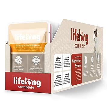 Marca Amazon - Lifelong Alimento completo para gatos adultos - Selección de carne en salsa, 9,6 kg (96 bolsitas x 100g): Amazon.es: Productos para mascotas