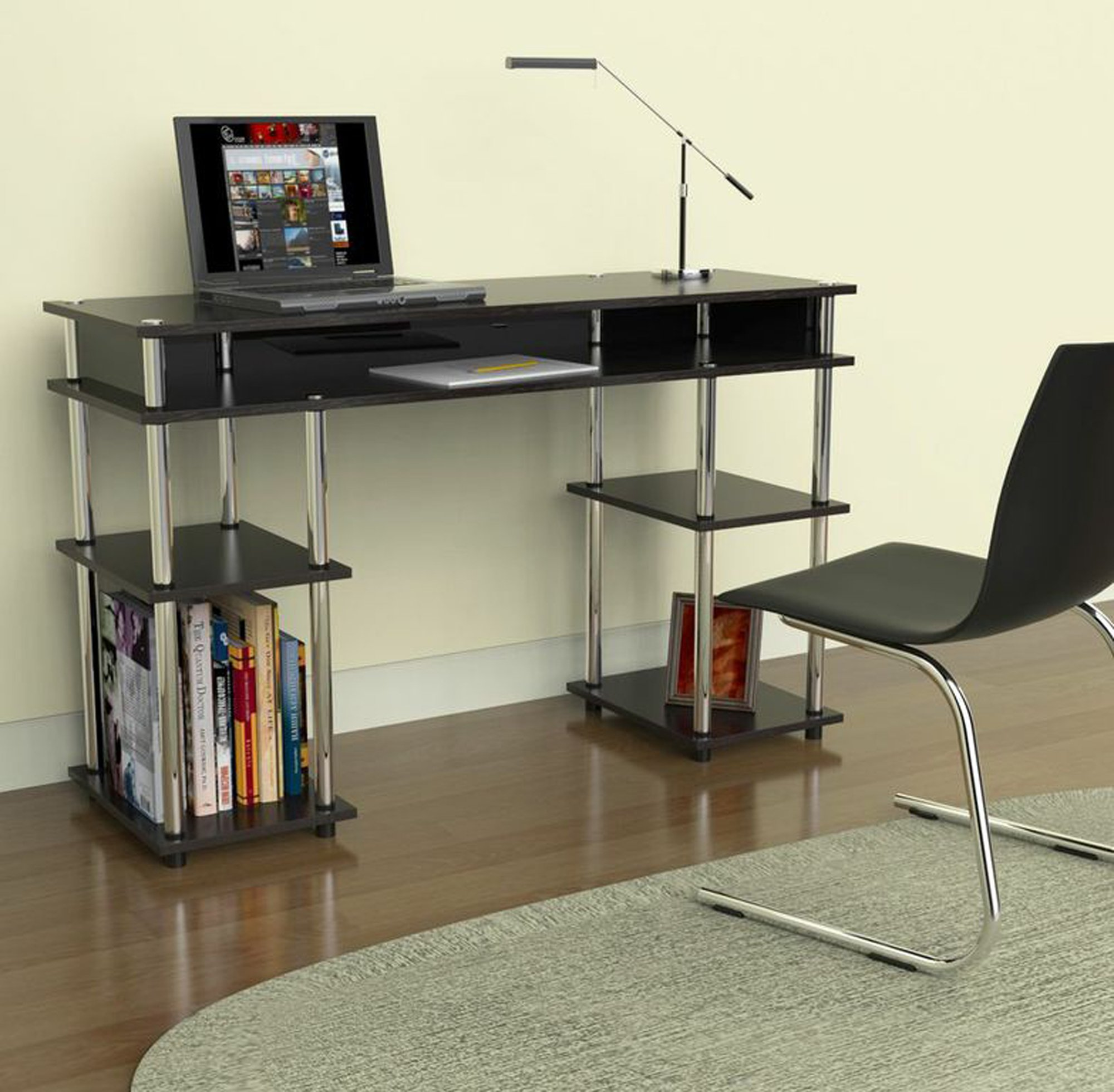 Convenience Concepts Modern No Tools Student Desk, Black by Convenience Concepts