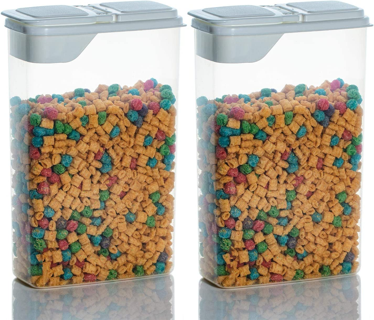 2 Pack Cereal, Snack, and Dry Goods 4 Quart Food Storage Keeper and Dispenser Container with Flip Top Lid